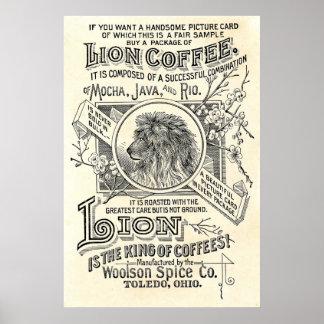 Vintager Chic-Löwe-Kaffee-Anzeige-Café-Dekor Poster