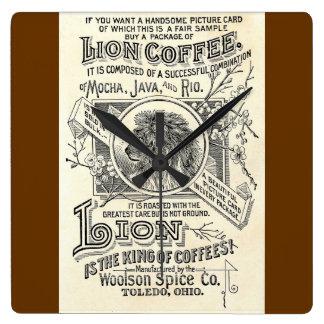 Vintager Chic-Löwe-Kaffee-Anzeige-Café-Dekor Uhren