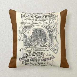 Vintager Chic-Löwe-Kaffee-Anzeige-Café-Dekor Zierkissen