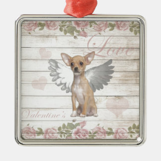 Vintager Chihuahua - Valentinstag Silbernes Ornament