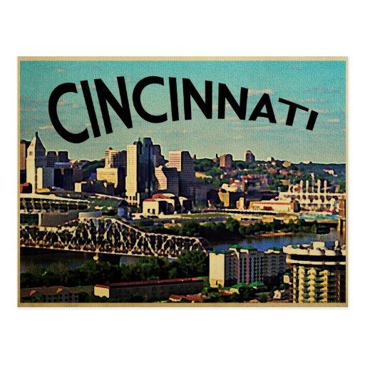 Vintager CincinnatiSkyline Postkarten