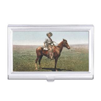 Vintager Cowboy circa 1904 Visitenkarten Dose