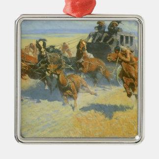 Vintager Cowboy, den nahen Führer niederwerfend, Quadratisches Silberfarbenes Ornament