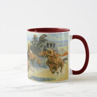 Vintager Cowboy, den nahen Führer niederwerfend, Tasse