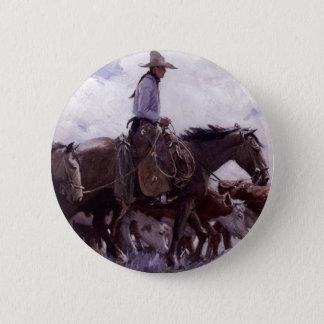 Vintager Cowboy mit seiner Herde des Viehs durch Runder Button 5,7 Cm