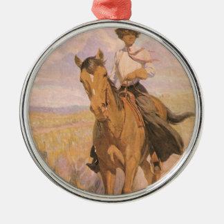 Vintager Cowgirl-Cowboy, Frau auf Pferd durch Silbernes Ornament