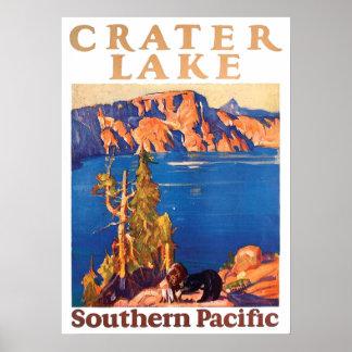 Vintager Crater See-südliche pazifische Reise 1928 Poster