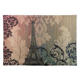 Vintager Damast böhmischer Turm Chic-Paris Eiffel Stofftischset