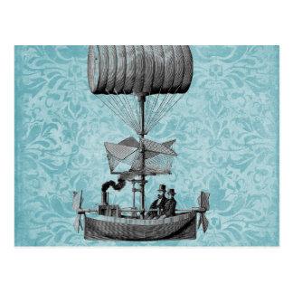 Vintager Damast des Airboat-|Blue Postkarte
