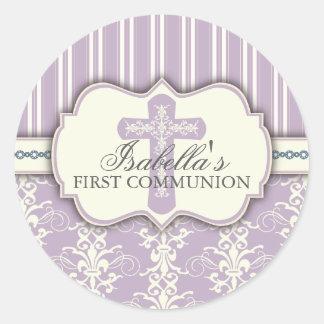 Vintager Damast-erster Kommunions-Aufkleber | lila