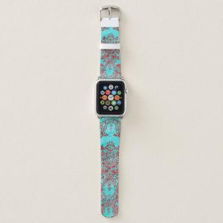 Vintager Damast-rotes blaues Apple-Uhrenarmband Apple Watch Armband