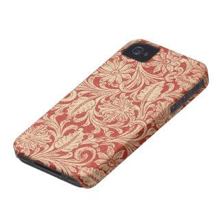Vintager Damast-rotes mit BlumenBlackBerry mutige iPhone 4 Hülle