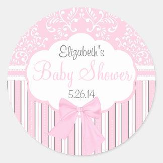 Vintager Damast und Streifen-Rosa Baby-Dusche Runder Aufkleber