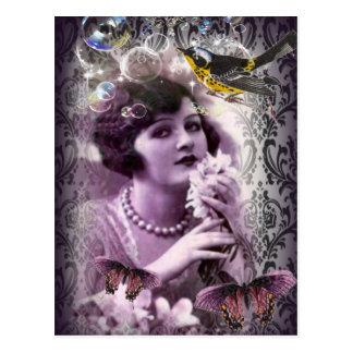 Vintager Damastkunst-Deko gatsby Postkarte