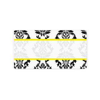 Vintager DamastSchwarz-weiße gelbe Adressaufkleber