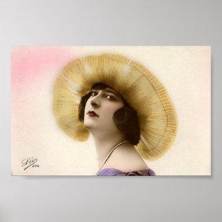 Vintager Damenzwanziger jahre Prallplatten-Hut-Kun Poster