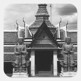 Vintager Dämon-Schutz Thailands Bangkok Wat Phra Quadratischer Aufkleber