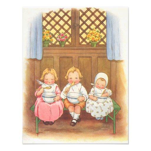Vintager das Kinderzimmer-Reim der Pease Individuelle Ankündigung