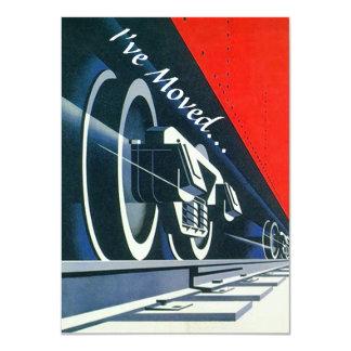 Vintager Deko-Zug bewegte neue Adresse Announement 11,4 X 15,9 Cm Einladungskarte