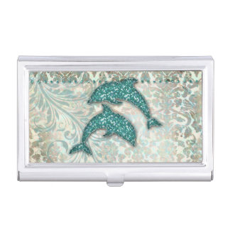 Vintager Delphin-Glitter-aquamariner Damast Visitenkarten Etui