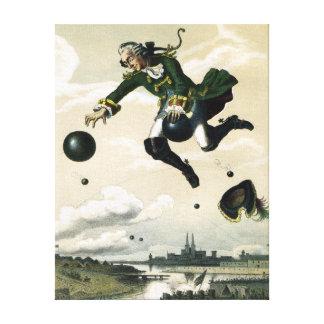 Vintager deutscher Baron Munchausen Adventures Leinwanddruck