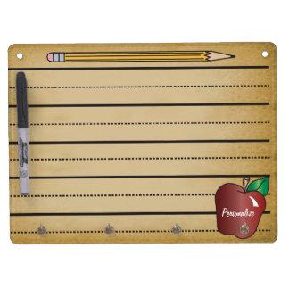 Vintager die Anmerkungs-Karton des Lehrers Trockenlöschtafel Mit Schlüsselanhängern
