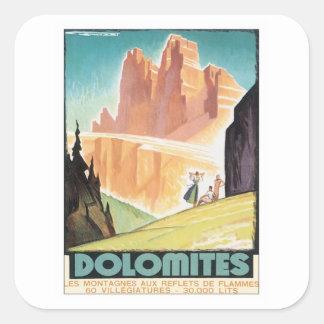 Vintager Dolomit-Berg Quadrat-Aufkleber