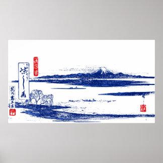 Vintager Druck des Fujisans Woodblock Poster