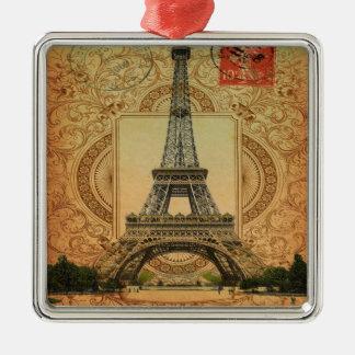 Vintager Eiffel-Turm des modernen girly Quadratisches Silberfarbenes Ornament