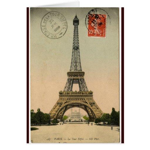 Vintager Eiffel-Turm Karte