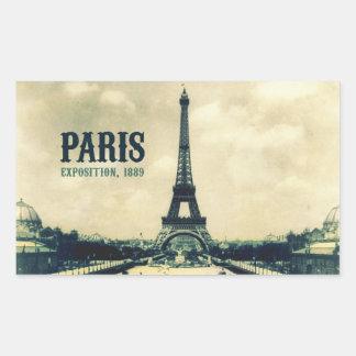 Vintager Eiffel-Turm, Paris, 1889 Rechrteckaufkleber