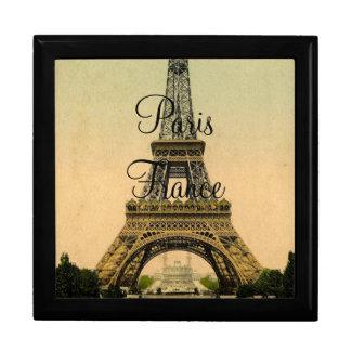Vintager Eiffel-Turm Paris Frankreich Poscard - gi Große Quadratische Schatulle