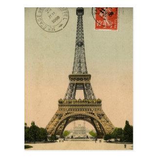 Vintager Eiffel-Turm-Postkarten-Entwurf