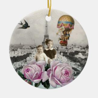 Vintager Eiffel-Turm-Rosa-Rosen-Heißluft-Ballon Weihnachtsbaum Ornament