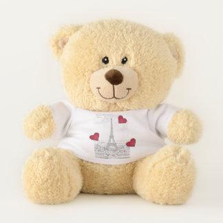 Vintager Eiffel-Turm - rote Herzen Teddybär