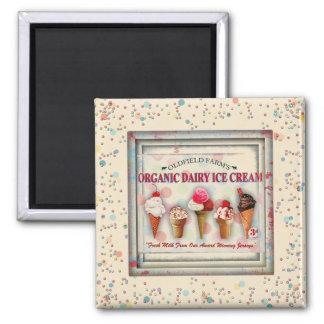 Vintager Eiscremewohnzimmer-Zeichenmagnet Quadratischer Magnet