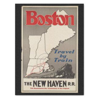 Vintager Eisenbahn-Zug Reise-Bostons New-Haven Seidenpapier
