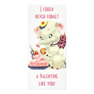 Vintager Elefant mit Eiscreme-Valentinstag Werbekarte