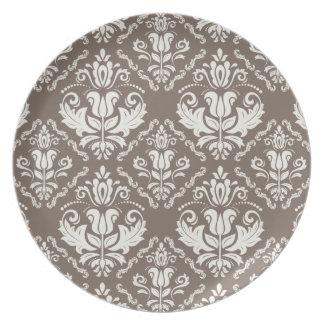 Vintager Elfenbeintaupe-Damast-stilvolles Muster Flache Teller
