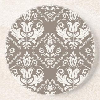 Vintager Elfenbeintaupe-Damast-stilvolles Muster Untersetzer