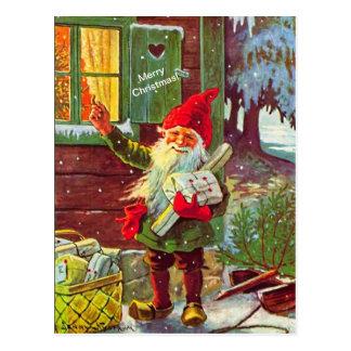 Vintager Elfschwedische Gnome Tomte (Kopie) Postkarte