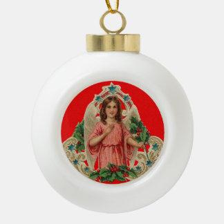 Vintager Engel Keramik Kugel-Ornament