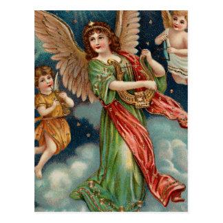 Vintager Engel mit Harfe und zwei Engeln Postkarte