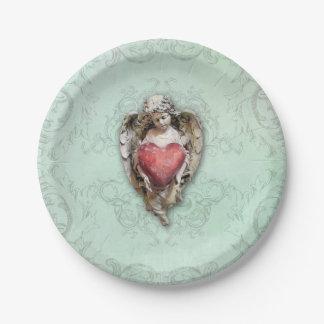 Vintager Engel mit Herzen Pappteller
