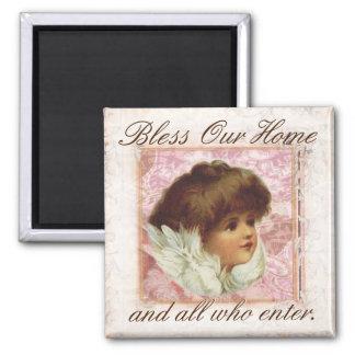 Vintager Engel segnen unser Zuhause Quadratischer Magnet
