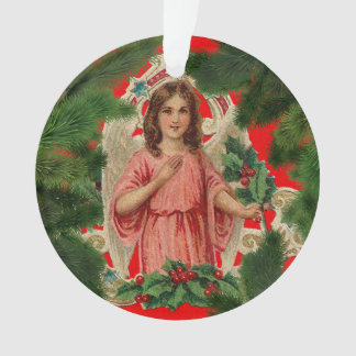 Vintager Engel u. Baum Ornament