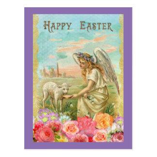 Vintager Engel und Lamm Postkarte
