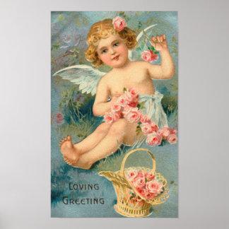 Vintager Engels-Blumengruß Poster