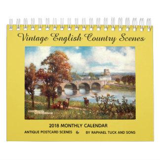 Vintager englischer Kalender der Land-Szenen-2018