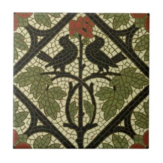 Vintager Entwurf der Mosaik-Vogel-Fliesen-c1885 Fliese